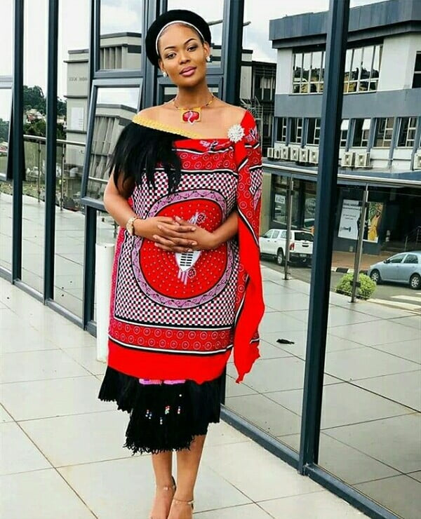 Swazi Royal In Red Emahiya Traditional Attire With Fur And