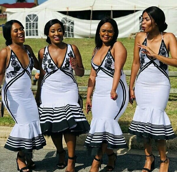 Bridal Squad In Xhosa Umbhaco Inspired Dresses With Flower
