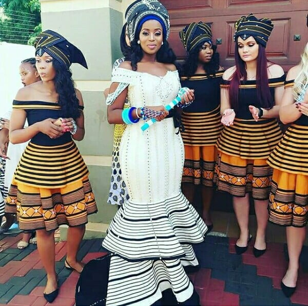 Xhosa Bride and Bridesmaids In Umbhaco Inspired Traditional