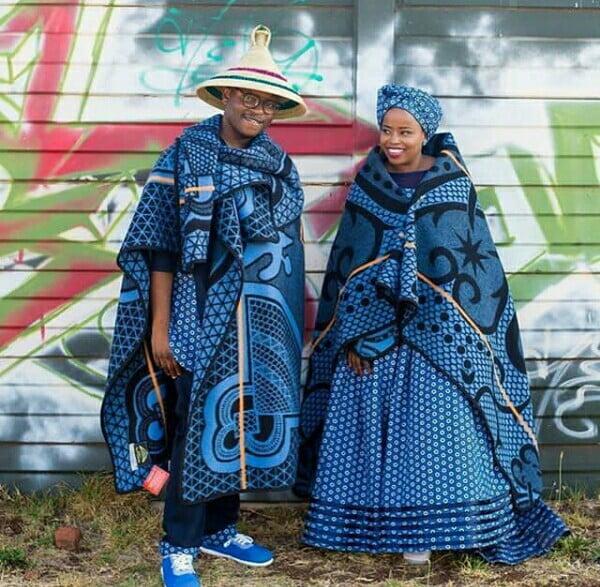 Basotho Couple In Traditional Wedding Seana Blanket