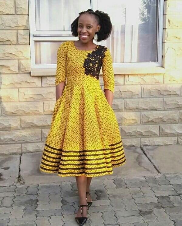 Yellow Seshoeshoe Print Flare Dress With Black Leafy Crest