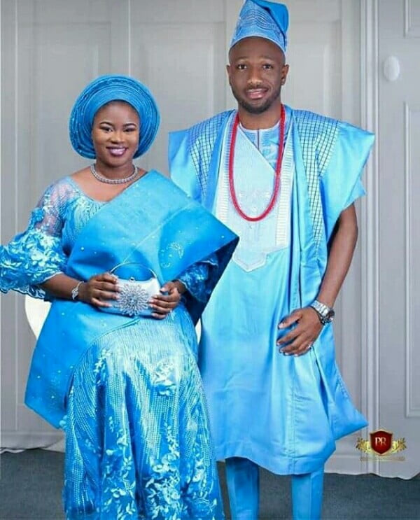 Nigerian Traditional Yoruba Wedding: Nigerian Couple In Blue Yoruba Engagement Traditional