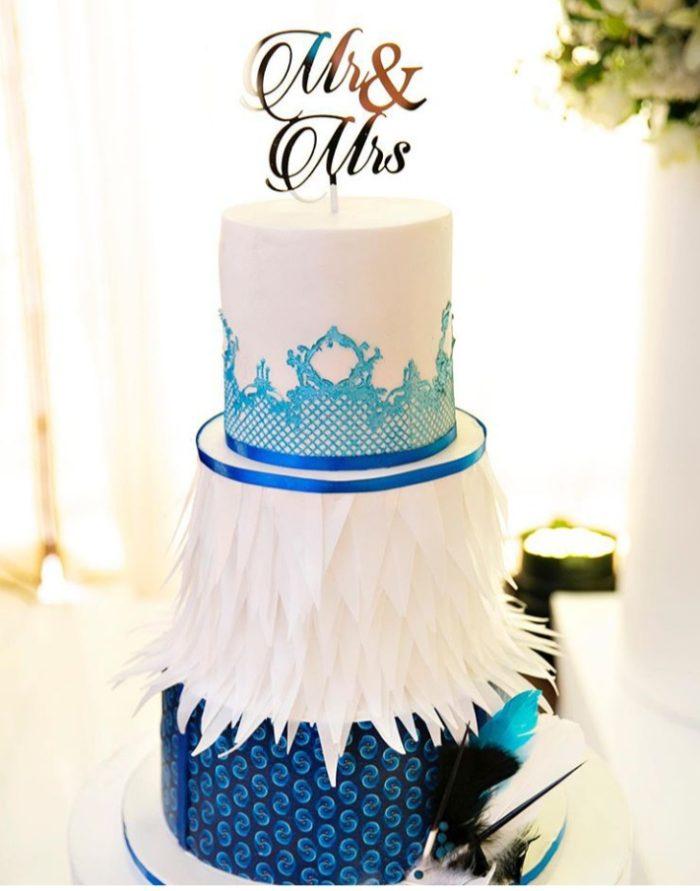 Three tier shweshwe Mr & Mrs wedding cake