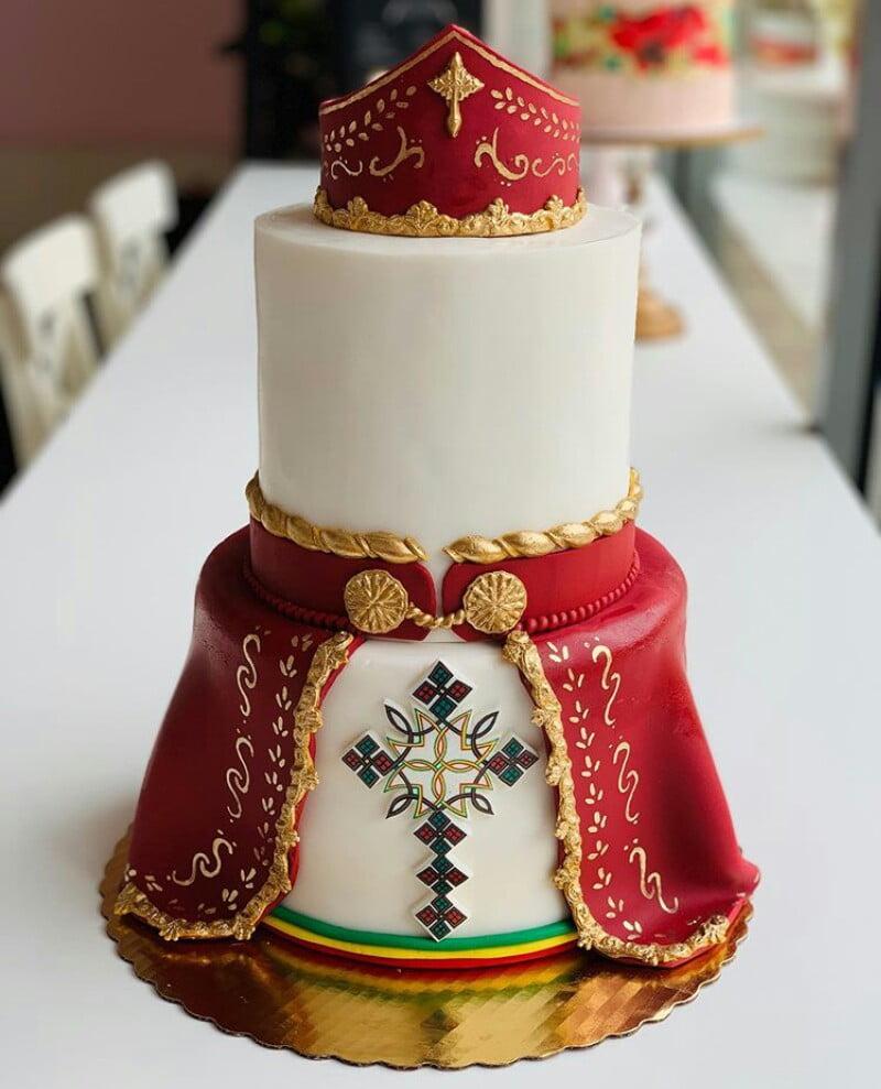 Red and Cream Habesha Wedding Cake – Clipkulture