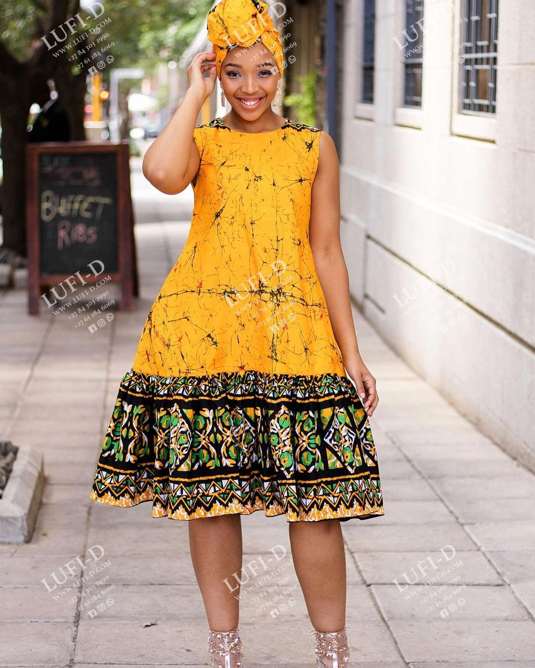 Ready to Wear African Print Dress with Headwrap – Clipkulture