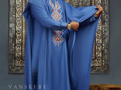 Classy Blue Agbada With Colourful Embroidery