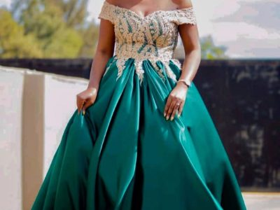 Green Off Shoulder Bridal Shower Dress