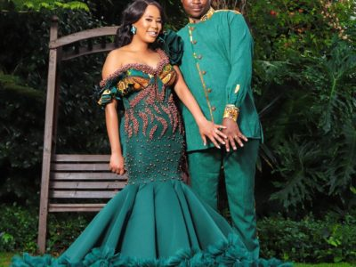 South African Couple in Green Traditional Wedding Attire