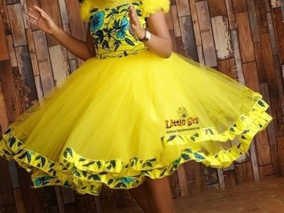 Red and Yellow African Print with Tulle Ball Gowns