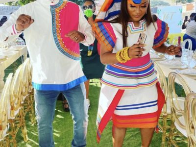 Couple In Sepedi Traditional Wedding Outfits