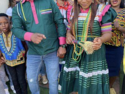 Couple In Green Sepedi Traditional Wedding Attire